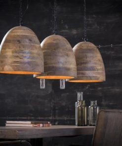 Hanglamp 3X30 Houten Kap Verlichting