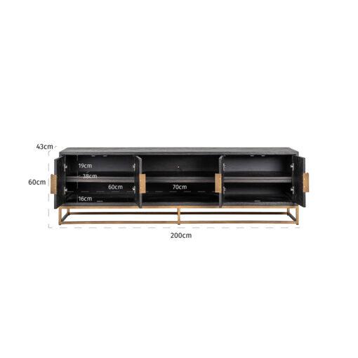 7374 - TV-Unit Blackbone brass 4-doors 200