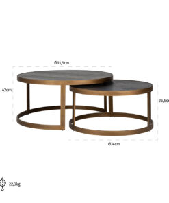 7375 - Coffee table Blackbone brass set of 2 round