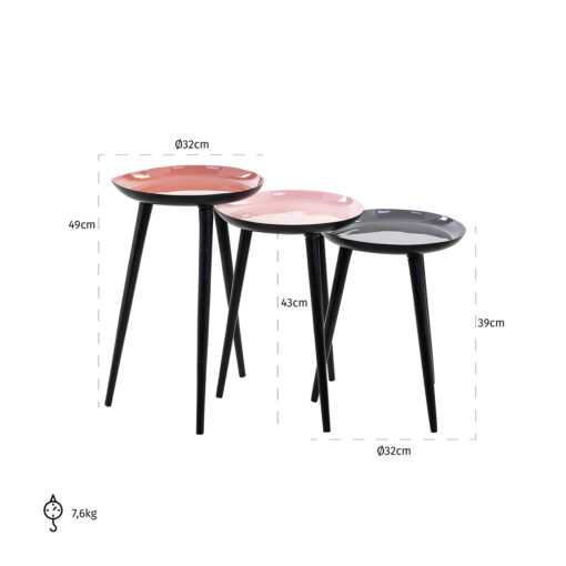 825100 - End table Trinity pink/grey set of 3