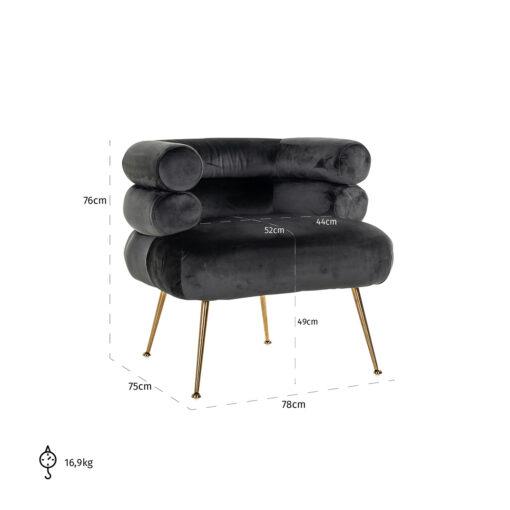 S4520 ANTRACIET VELVET - Easy Chair Amelia antraciet / gold