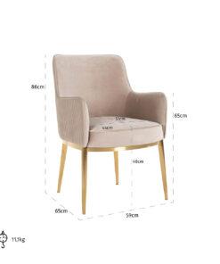 S4525 KHAKI VELVET - Chair Breeze  Khaki Velvet / Brushed gold